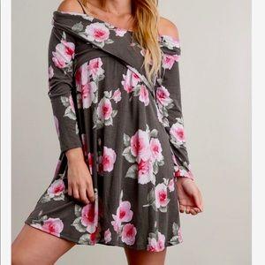 Charcoal Floral Cold Shoulder Dress